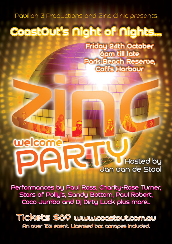 CoastOut poster: Zinc Welcome Party poster