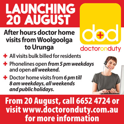 Doctor On Duty launch ad for Coffs Coast Advocate