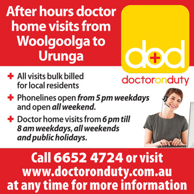Doctor On Duty running ad for Coffs Coast Advocate
